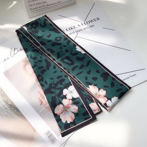 Accessories - New Green Leopard print Silk Skinny Scarf Twilly
